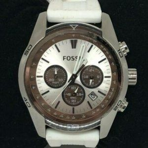 Fossil Mens Silicone Silver Dial Wrist Watch Bb923